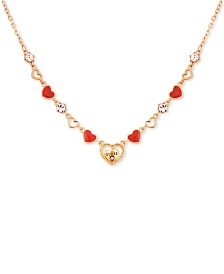 "GUESS Crystal Logo Heart Collar Necklace, 16"" + 2"" extender"