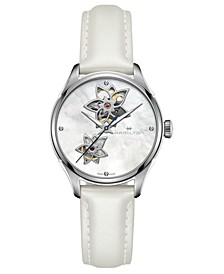 Women's Swiss Automatic Jazzmaster Diamond Accent White Leather Strap Watch 34mm