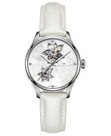 Hamilton Women's Swiss Automatic Jazzmaster Diamond Accent White Leather Strap Watch 34mm