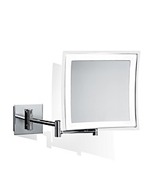 Wall Mounted Lighted Magnifying Mirror in Polished Chrome