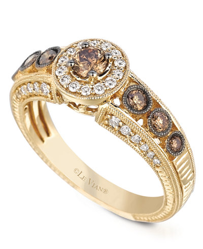le vian white and chocolate diamond engagement ring 58 ct tw - Chocolate Diamond Wedding Rings