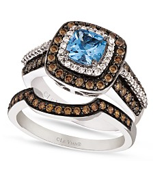 Le Vian Chocolate White Diamond and Aquamarine Stackable Rings in 14k White Gold