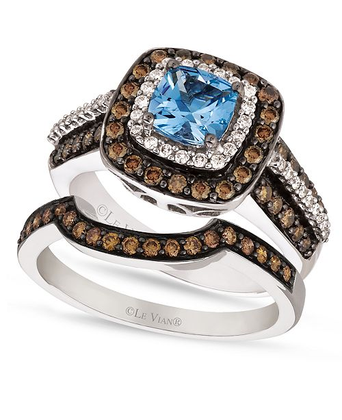 39f34ae6c Le Vian Chocolate White Diamond and Aquamarine Stackable Rings in 14k White  Gold