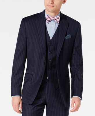 Men's Classic-Fit UltraFlex Stretch Navy Blue Pinstripe Suit Jacket