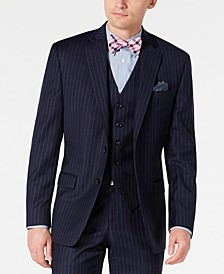 Men's Classic-Fit UltraFlex Stretch Navy Blue Pinstripe Suit Jacket