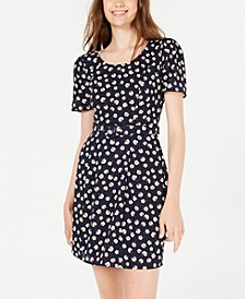 Juniors' Belted Puff-Sleeve Dress