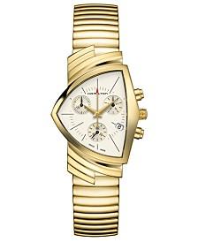 Hamilton Unisex Swiss Ventura Gold-Tone Stainless Steel Bracelet Watch 32.3x50.3mm