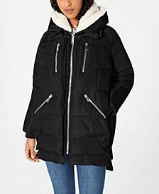 Oversized Hooded Fleece-Lined Puffer Coat