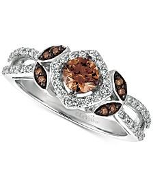 Le Vian Chocolatier® Vanilla Diamond® (1/3 ct. t.w.) & Chocolate Diamond® (1/2 ct. t.w.) Statement Ring in 14k White Gold