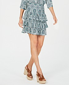 Medallion-Print Tiered Skirt