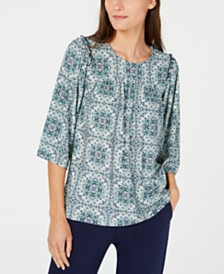 Michael Michael Kors Medallion-Print Ruffled Blouse, Regular & Petite Sizes