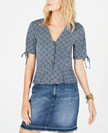 Michael Michael Kors Printed Peplum Blouse, Regular & Petite Sizes