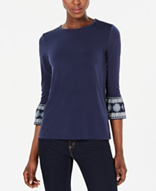 Michael Michael Kors Bell-Sleeve Printed-Cuff Top, Regular & Petite Sizes