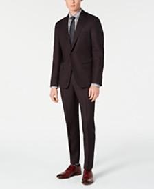 DKNY Men's Modern-Fit Stretch Burgundy Birdseye Suit Separates