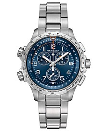 Men's Swiss Chronograph Khaki XWind Stainless Steel Bracelet Watch 46mm