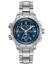 Hamilton Men's Swiss Chronograph Khaki XWind Stainless Steel Bracelet Watch 46mm