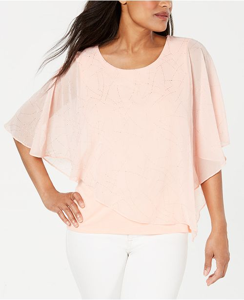JM Collection Textured Overlay Top, Created for Macy's