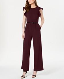 Calvin Klein Belted Ruffle-Sleeve Jumpsuit, Regular & Petite Sizes