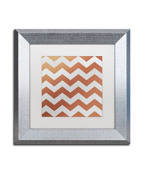 "Trademark Global Color Bakery 'Xmas Chevron 4' Matted Framed Art - 11"" x 11"""