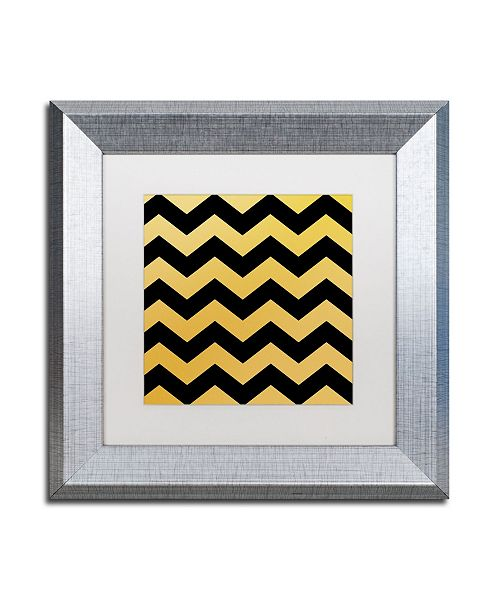 "Trademark Global Color Bakery 'Xmas Chevron 5' Matted Framed Art - 11"" x 11"""