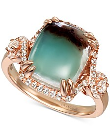 Le Vian® Peacock Aquaprase (12 x 10mm) & Vanilla Topaz (3/8 ct. t.w.) Statement Ring in 14k Rose Gold