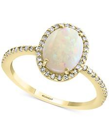 EFFY® Opal (9/10 ct. t.w.) & Diamond (1/4 ct. t.w.) Statement Ring in 14k Gold