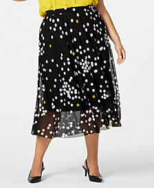 Plus Size Midi Printed Skirt
