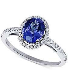 Tanzanite (1-1/5 ct.) & Diamond (1/6 ct. t.w.) Halo Statement Ring in 14k White Gold