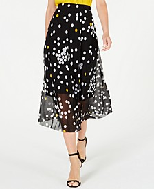 Petite Dot-Print Mesh Midi Skirt, Created for Macy's