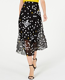 Alfani Petite Dot-Print Mesh Midi Skirt, Created for Macy's