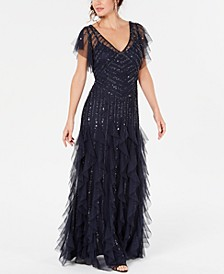 Flutter-Sleeve Beaded Gown