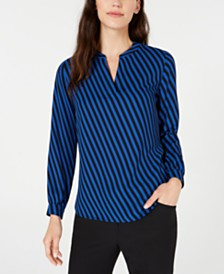 Anne Klein Striped Split-Neck Top