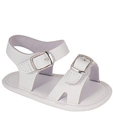 Baby Deer Baby Unisex Leather Double Hook and Loop Strap Sandal with Ornamental Buckles