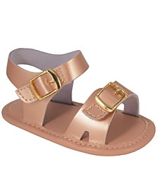 Baby Girl Leather Double Hook and Loop Strap Sandal with Ornamental Buckles