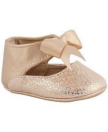 Baby Girl Metallic Foil PU Ankle Strap Dress Shoe with Bow