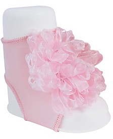 Baby Girl Peep Toe Sock with Sheer Loopy Ornament