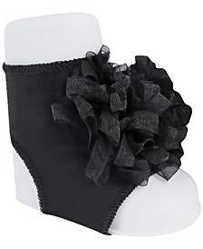 Baby Girl Peep Toe Sock with Sheer Loopy Ornament