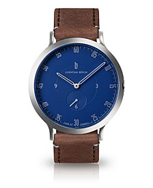 L1 Standard Blue Dial Silver Case Leather Watch 42mm
