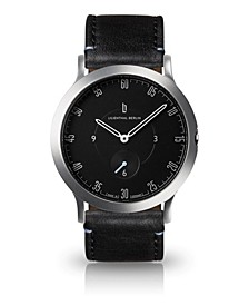 L1 Standard Slate Black Dial Silver Case Leather Watch 37mm
