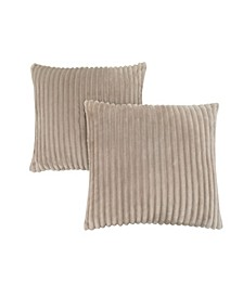 """18"""" x 18"""" Ultra Soft Ribbed Style Pillow, Set Of 2"""