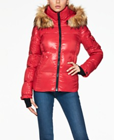 S13 Kylie Faux-Fur-Trim Down Puffer Coat