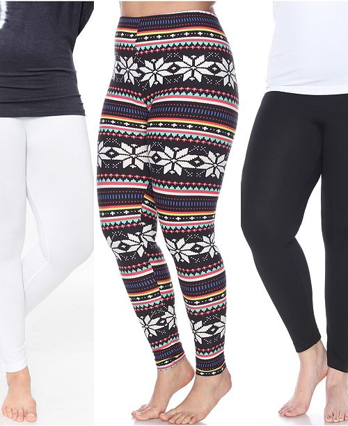 White Mark Pack of 3 Plus Size Leggings