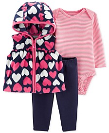 Carter's Baby Girls 3-Pc. Hooded Heart-Print Vest, Striped Bodysuit & Pants Set