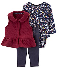Baby Girls 3-Pc. Quilted Print Vest, Floral-Print Bodysuit & Denim Pants Set