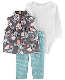 Carter's Baby Girls 3-Pc. Fleece Vest, Bodysuit & Dot-Print Leggings Set
