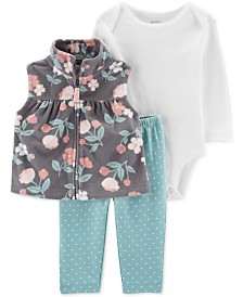 Carter's Baby Girls 3-Pc. Fleece Vest, Bodysuit & Dot-Print Leggings Set