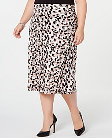 Plus Size Printed Midi Skirt