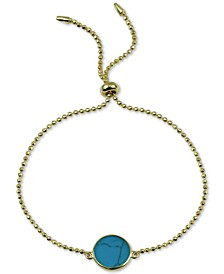 Reconstituted Turquoise Bolo Bracelet in 18k Gold-Plated Sterling Silver