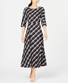 Weekend Max Mara Clima Plaid A-Line Dress