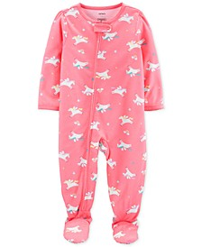 Baby Girls 1-Pc. Unicorn-Print Footed Pajamas